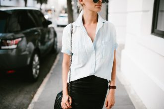 Classic Denim and Leather chambray short sleeve button up leather pencil skirt ankle strap heels Minimalist Summer 2016 // Charleston Fashion Blogger Dannon Like The Yogurt
