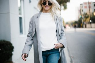Grey Coat oversized wool long lulus fifth the label abercrombie and fitch skinny denim jeans black ankle boots steve madden Street Style Blogger // Charleston Fashion Blogger Dannon Like The Yogurt