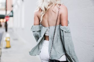 Cold Shoulder ruffle off the shoulder blouse nordstrom 4sI3NNA skinny white jeans ankle strap sandals platinum blonde hair spring southern street style downtown // Charleston Fashion Blogger Dannon Like The Yogurt