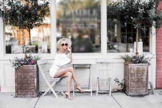 Ciao Bella! H&M short high waist white shorts target women's boater hat wicker crinkled off-the-shoulder crochet top ruffle ankle strap sandals platinum blonde hair spring southern street style downtown // Charleston Fashion Blogger Dannon Like The Yogurt