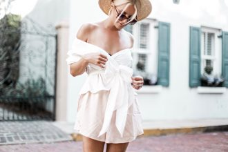 Charleston, Italy?! wayf janis wrap shirt off the shoulder top blouse nordstrom Leith smock waist shorts ankle strap sandals european italian style platinum blonde hair spring southern street style downtown // Charleston Fashion Blogger Dannon Like The Yogurt